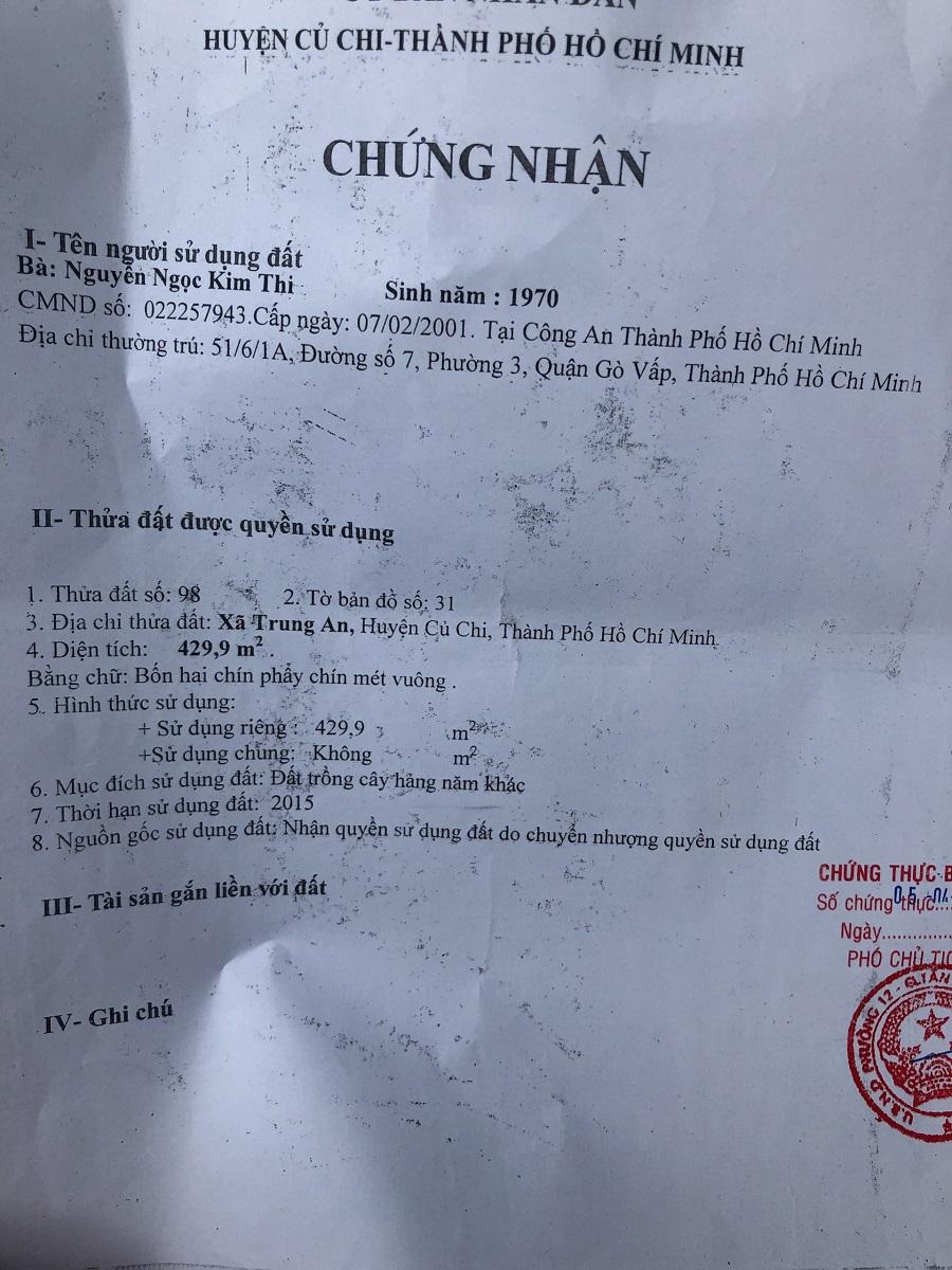 429m2 Đất MT Nguyễn Thị Kéo, Xã Trung an